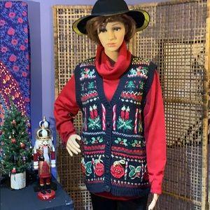 NWT TIARA INTERNATIONAL CHRISTMAS SWEATER VEST